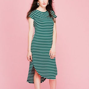 She + Sky Green and White Striped Dress